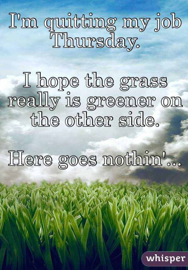 I'm quitting my job Thursday.  I hope the grass really is greener on the other side.  Here goes nothin'...