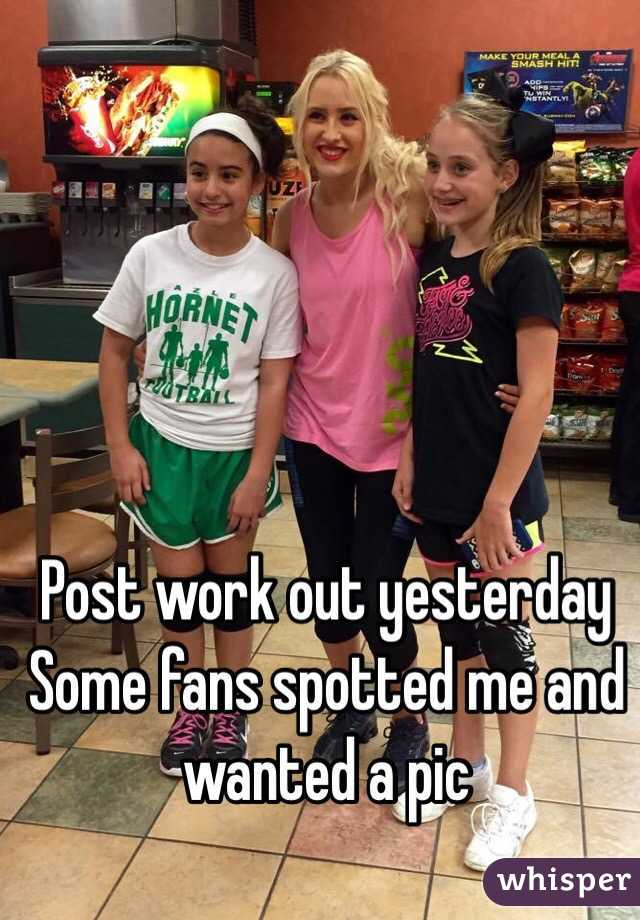 Post work out yesterday  Some fans spotted me and wanted a pic