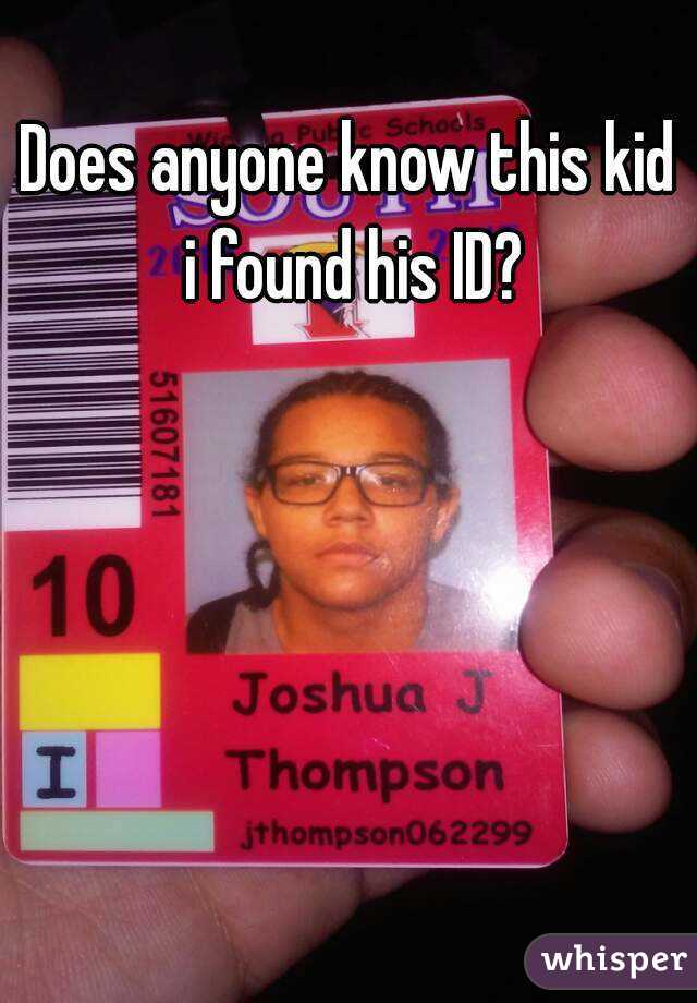 Does anyone know this kid i found his ID?