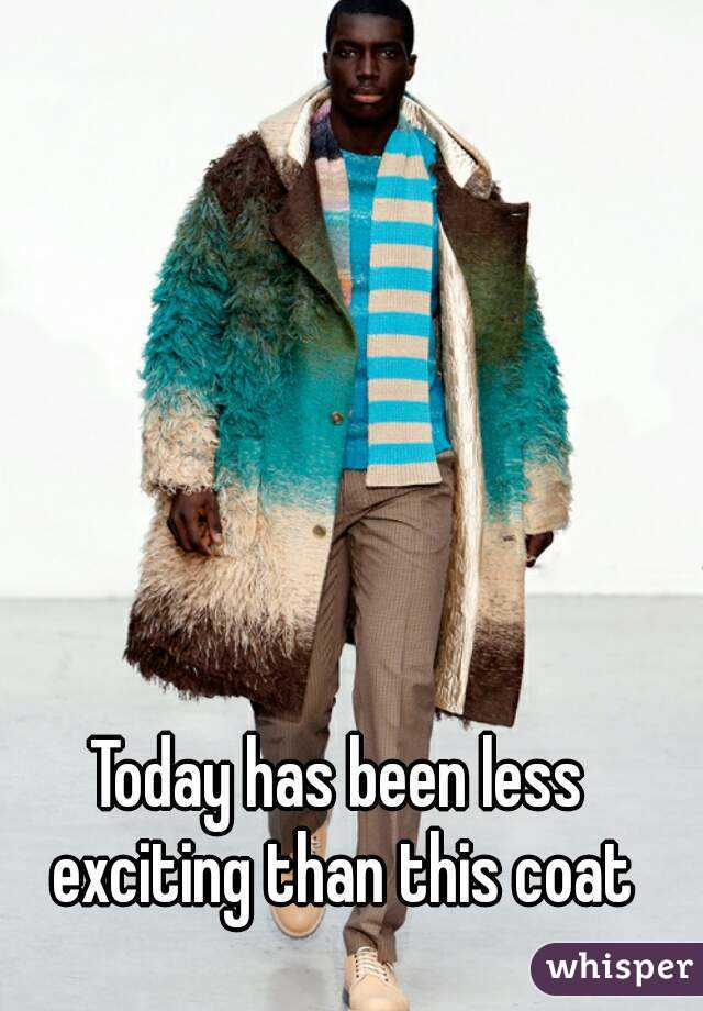 Today has been less exciting than this coat