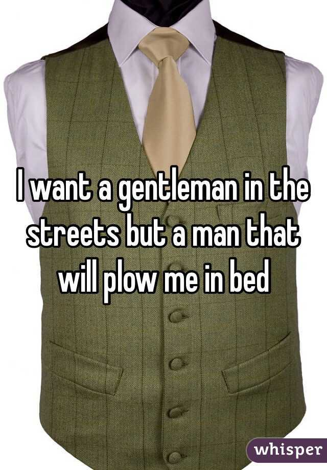 I want a gentleman in the streets but a man that will plow me in bed