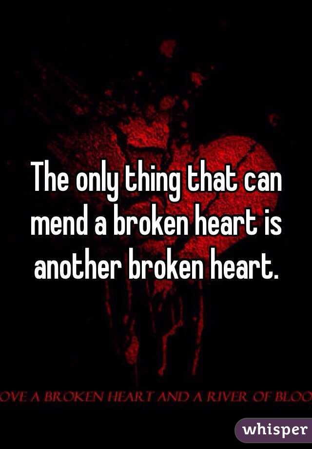 The only thing that can mend a broken heart is another broken heart.