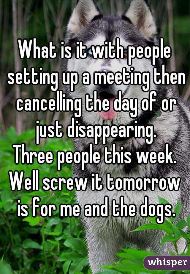 What is it with people setting up a meeting then cancelling the day of or just disappearing. Three people this week. Well screw it tomorrow is for me and the dogs.