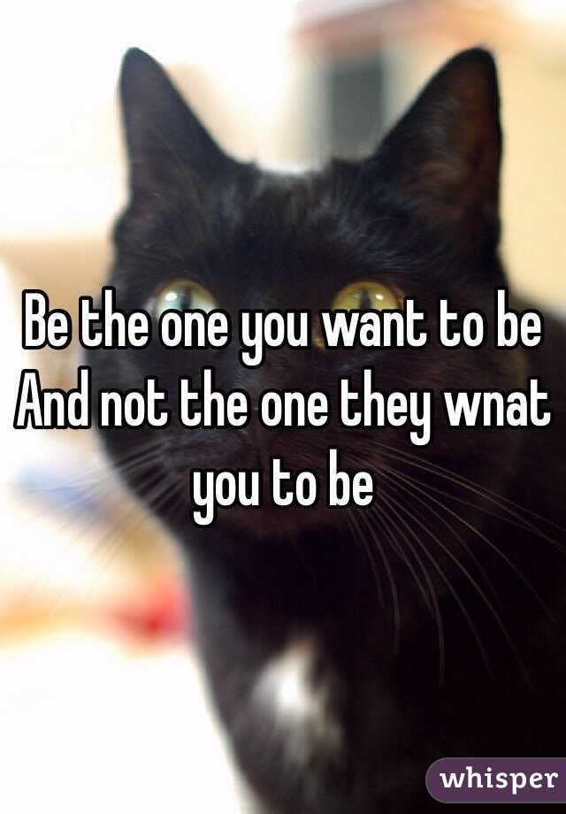 Be the one you want to be And not the one they wnat you to be