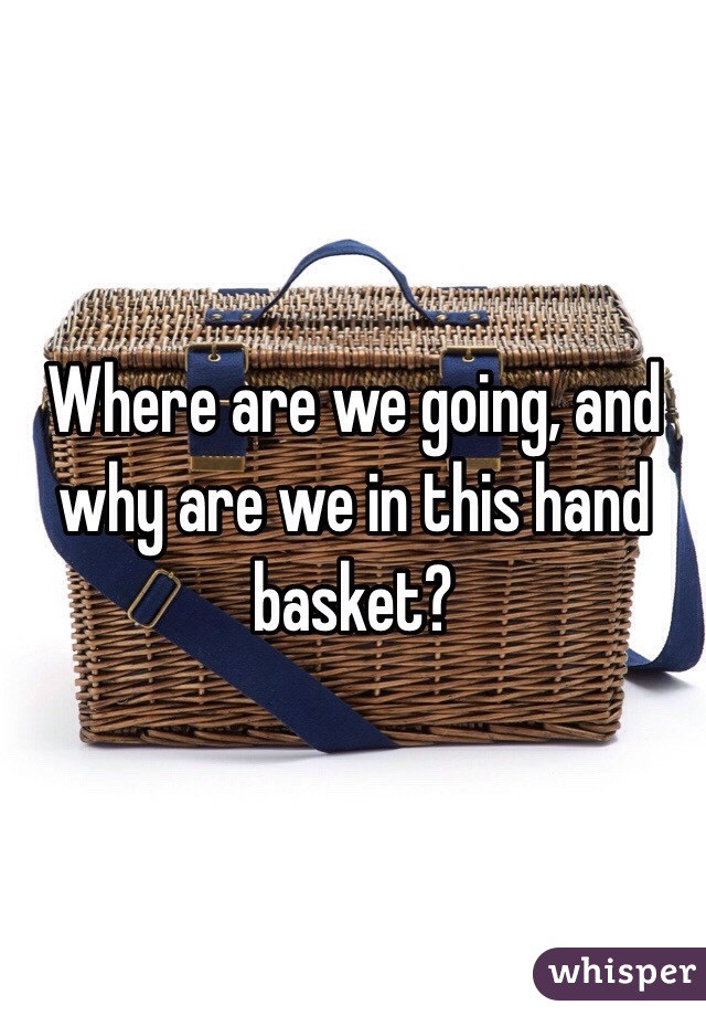where are we going and why are we in this hand basket