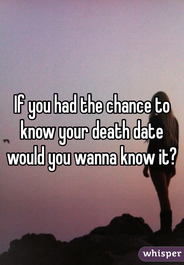 If you had the chance to know your death date would you wanna know it?