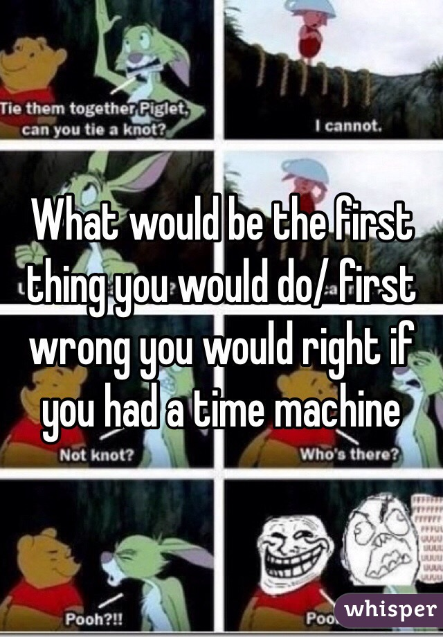 What would be the first thing you would do/ first wrong you would right if you had a time machine