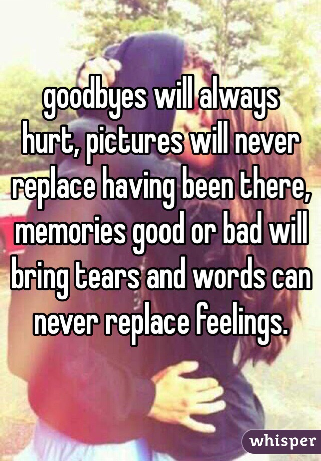 goodbyes will always hurt, pictures will never replace having been there, memories good or bad will bring tears and words can never replace feelings.
