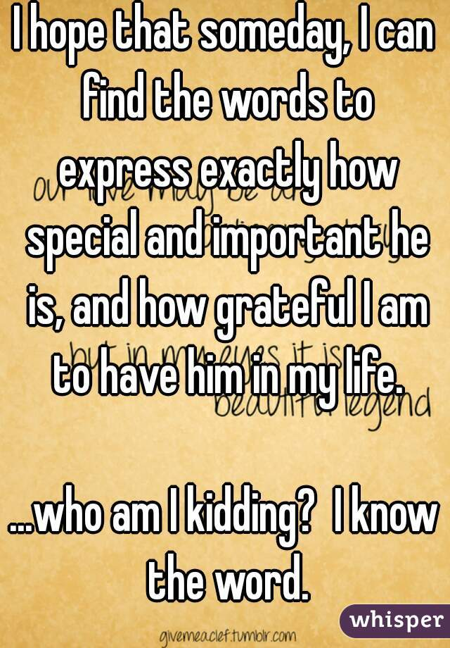 I hope that someday, I can find the words to express exactly how special and important he is, and how grateful I am to have him in my life.  ...who am I kidding?  I know the word.