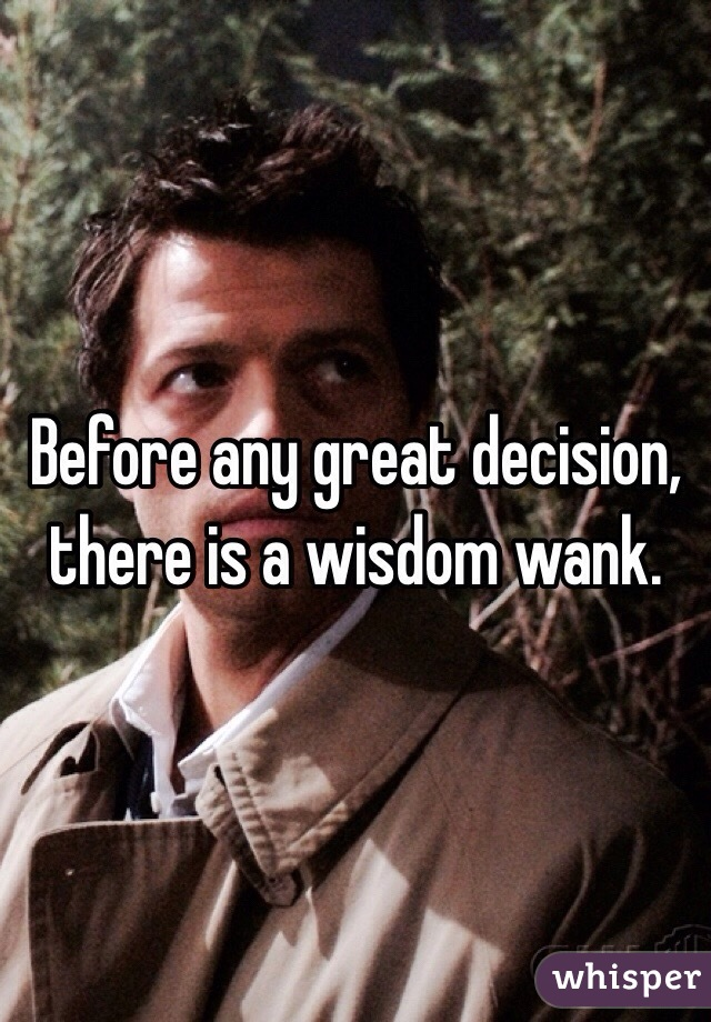 Before any great decision, there is a wisdom wank.