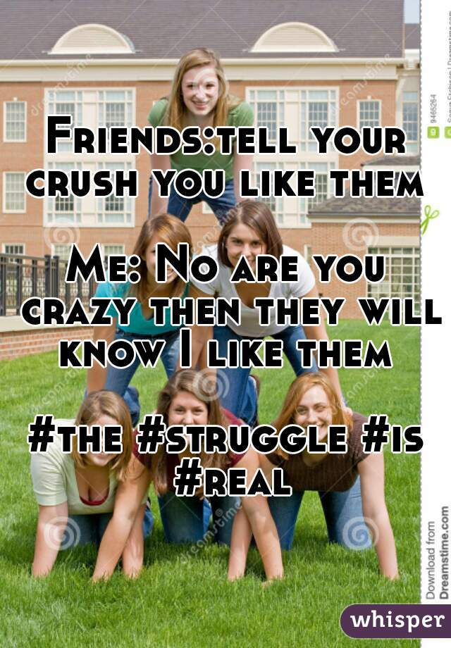 Friends:tell your crush you like them   Me: No are you crazy then they will know I like them   #the #struggle #is #real