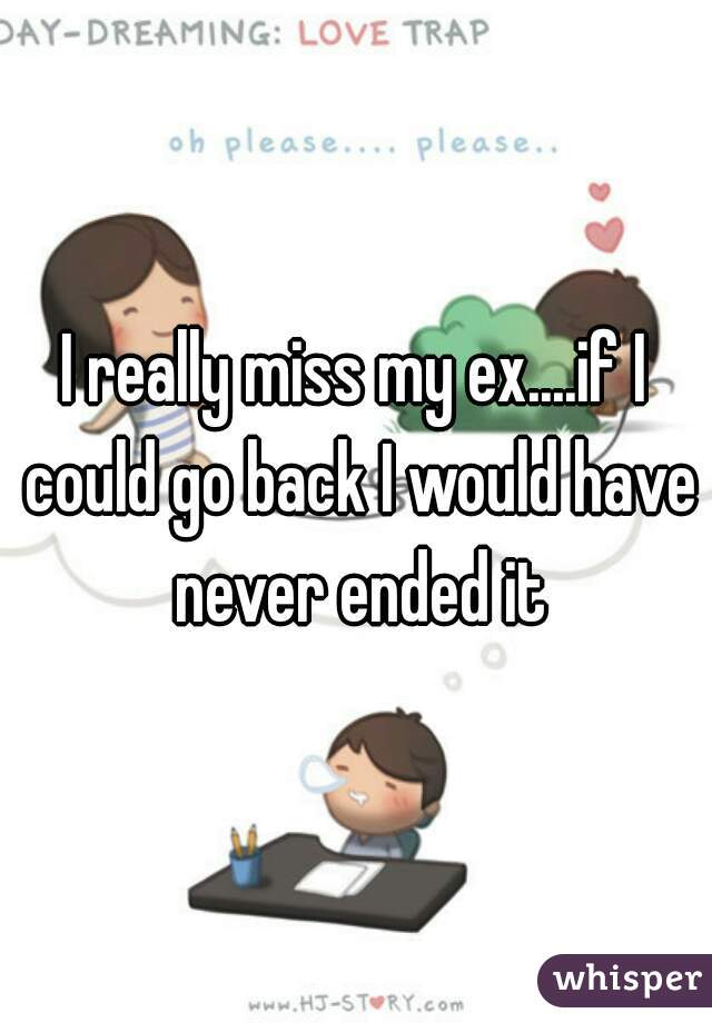 I really miss my ex....if I could go back I would have never ended it