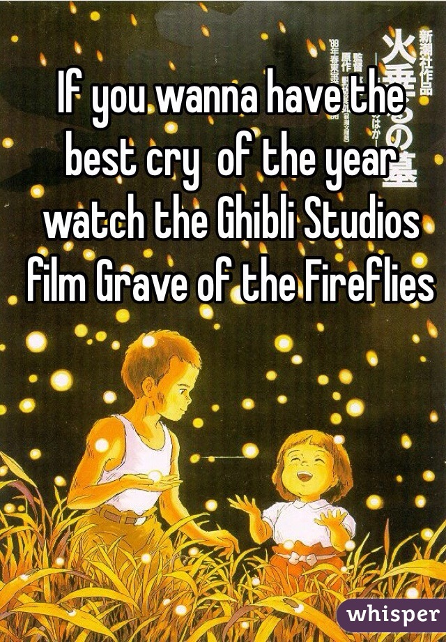 If you wanna have the best cry  of the year watch the Ghibli Studios film Grave of the Fireflies