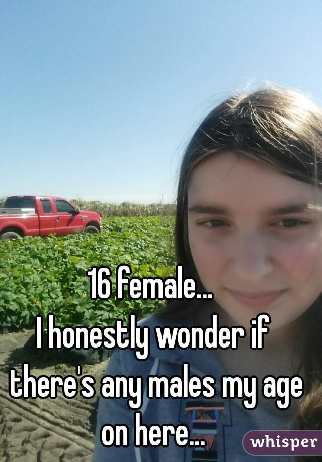 16 female...  I honestly wonder if there's any males my age on here...