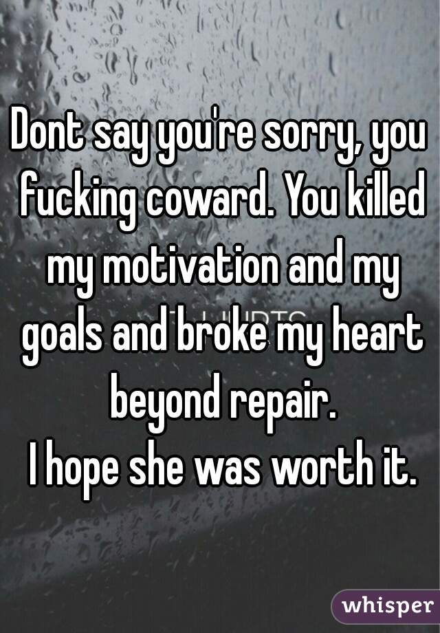 Dont say you're sorry, you fucking coward. You killed my motivation and my goals and broke my heart beyond repair.  I hope she was worth it.