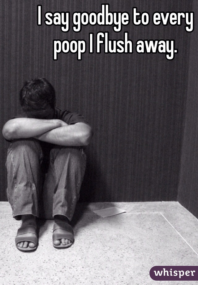 I say goodbye to every poop I flush away.