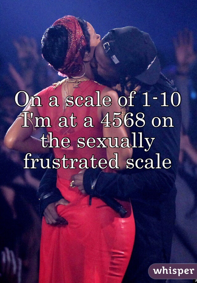 On a scale of 1-10 I'm at a 4568 on the sexually frustrated scale