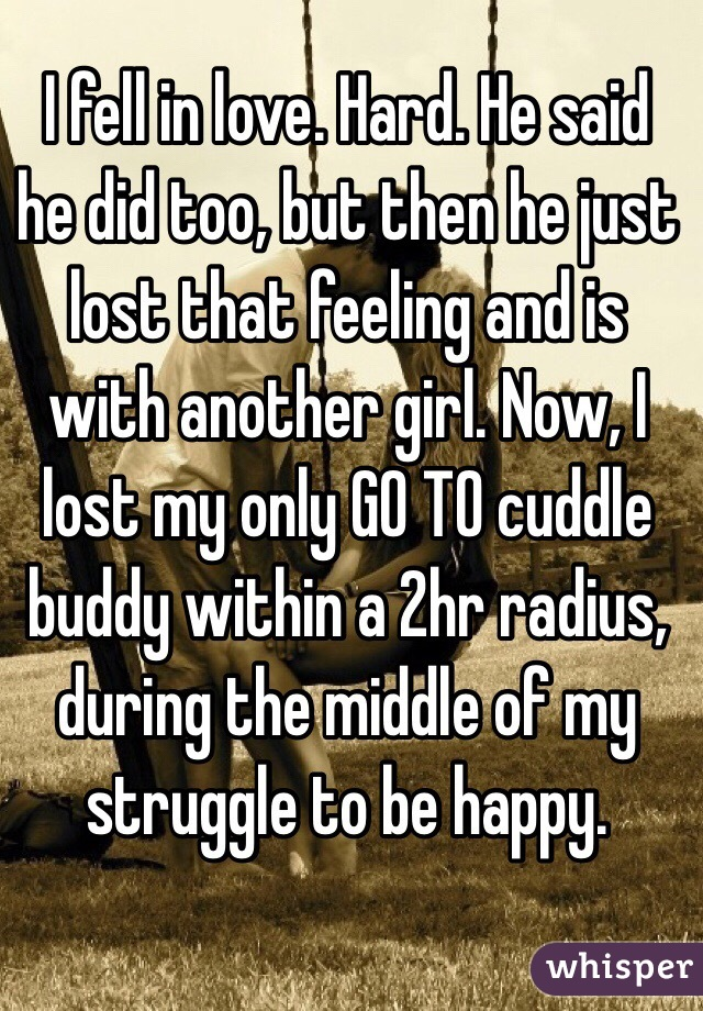 I fell in love. Hard. He said he did too, but then he just lost that feeling and is with another girl. Now, I lost my only GO TO cuddle buddy within a 2hr radius, during the middle of my struggle to be happy.