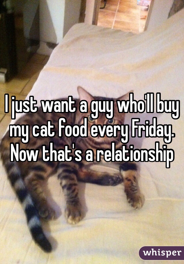 I just want a guy who'll buy my cat food every Friday.  Now that's a relationship