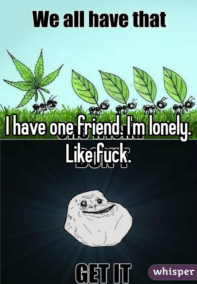I have one friend. I'm lonely. Like fuck.