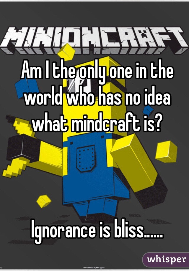 Am I the only one in the world who has no idea what mindcraft is?    Ignorance is bliss......