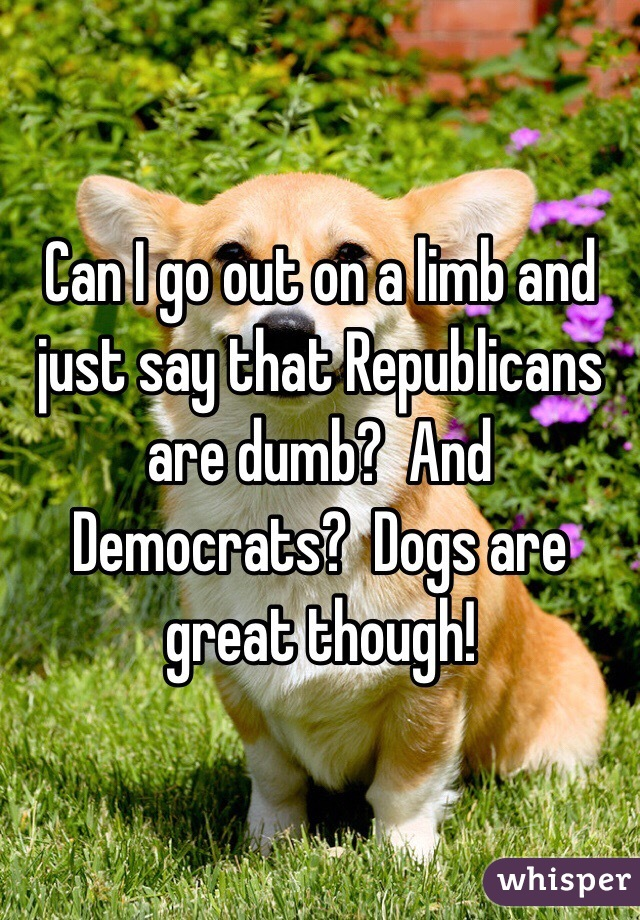 Can I go out on a limb and just say that Republicans are dumb?  And Democrats?  Dogs are great though!