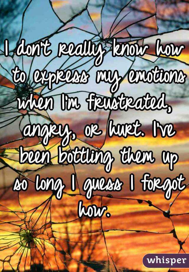 I don't really know how to express my emotions when I'm frustrated,   angry, or hurt. I've been bottling them up so long I guess I forgot how.
