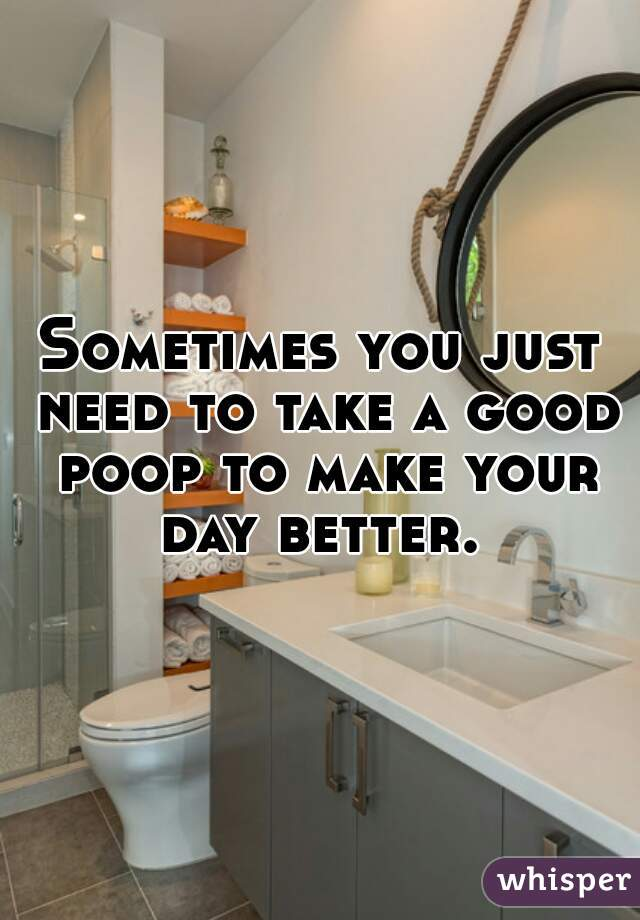 Sometimes you just need to take a good poop to make your day better.