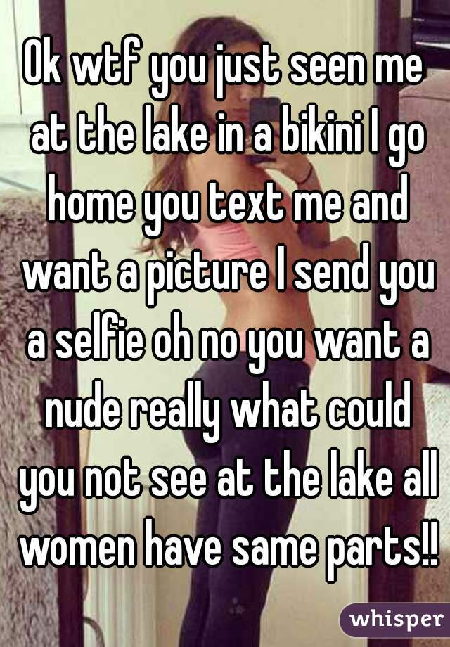 Ok wtf you just seen me at the lake in a bikini I go home you text me and want a picture I send you a selfie oh no you want a nude really what could you not see at the lake all women have same parts!!
