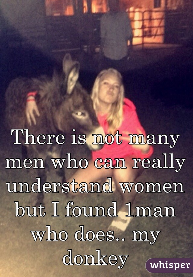 There is not many men who can really understand women but I found 1man who does.. my donkey
