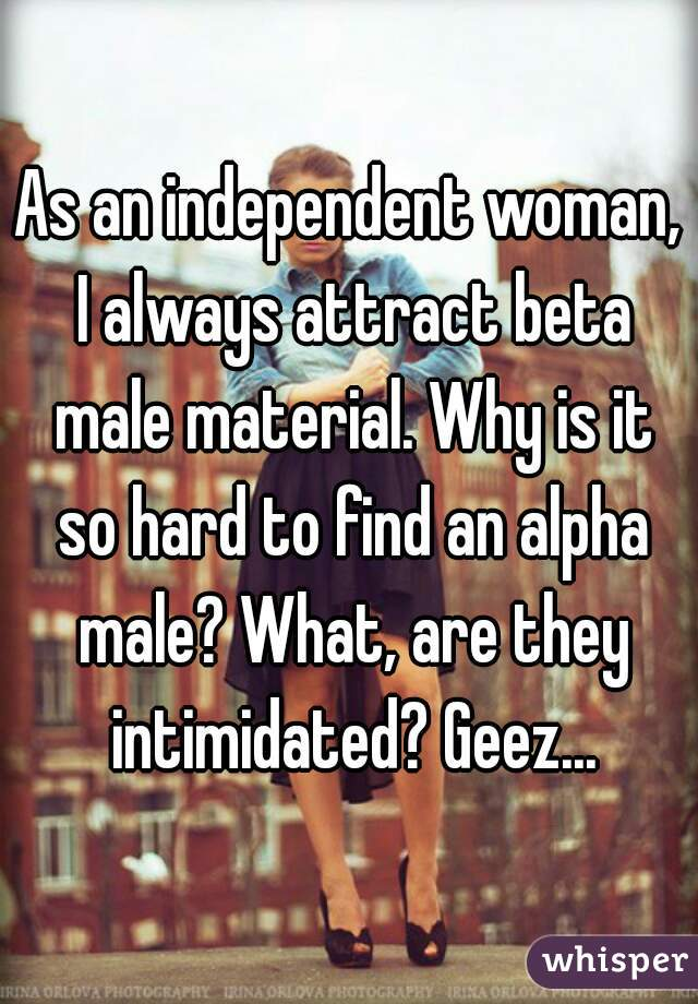 As an independent woman, I always attract beta male material. Why is it so hard to find an alpha male? What, are they intimidated? Geez...