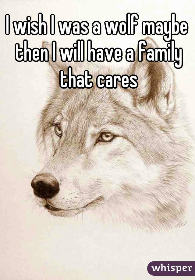 I wish I was a wolf maybe then I will have a family that cares