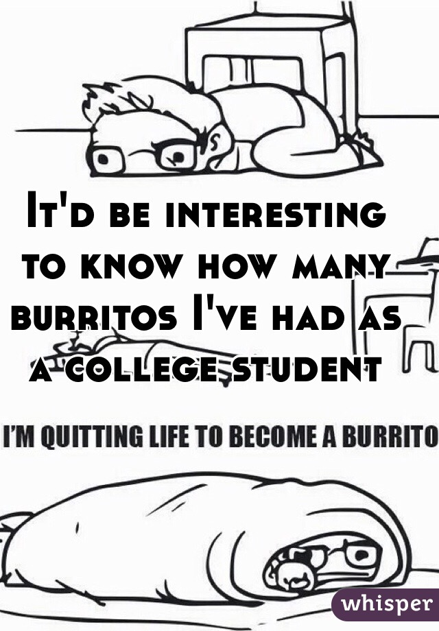 It'd be interesting to know how many burritos I've had as a college student