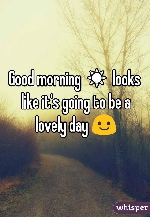 Good morning ☀ looks like it's going to be a lovely day 😃
