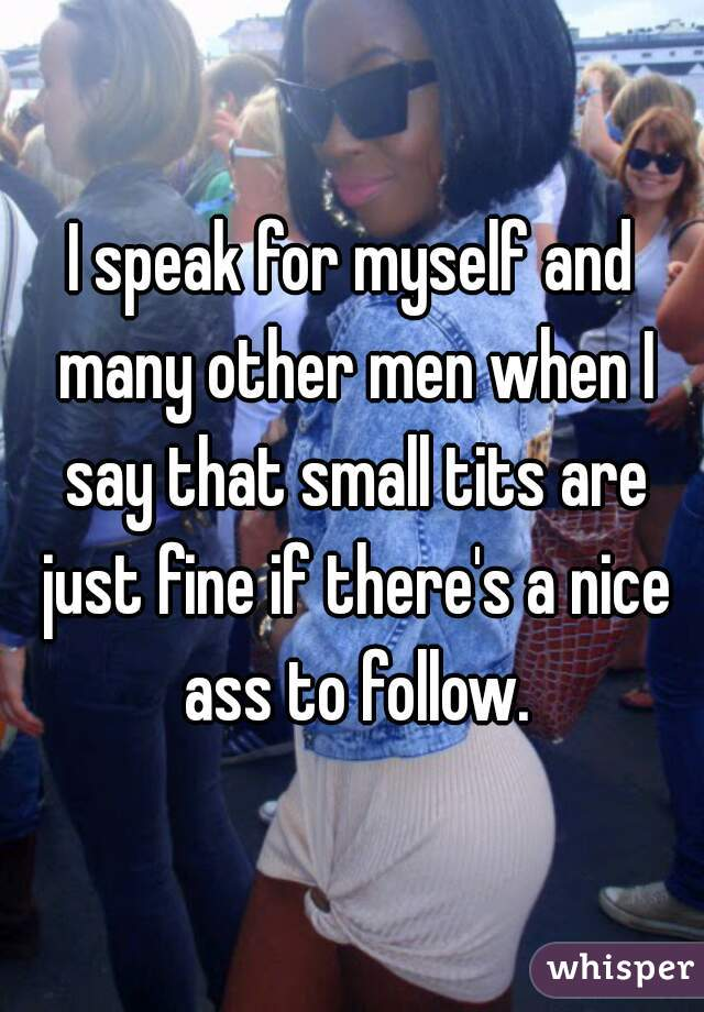 I speak for myself and many other men when I say that small tits are just  fine ...