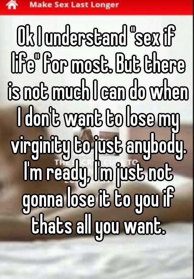 Am i ready to loose my virginity