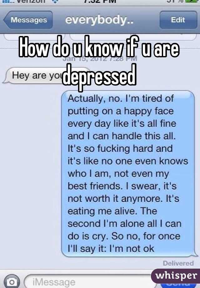 how do u know if u are depressed