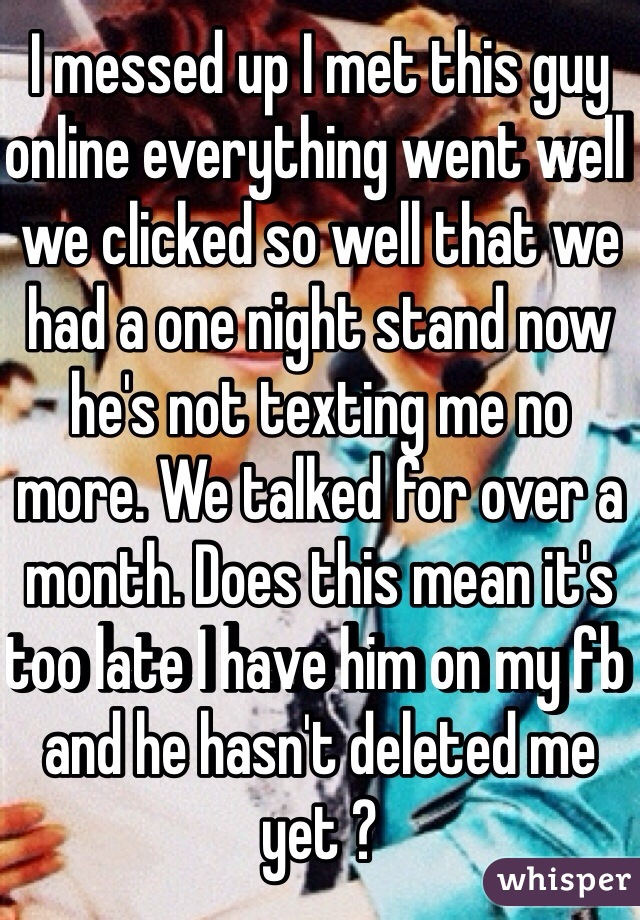 texting a guy after a one night stand