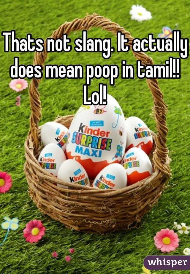 Thats not slang  It actually does mean poop in tamil!! Lol!