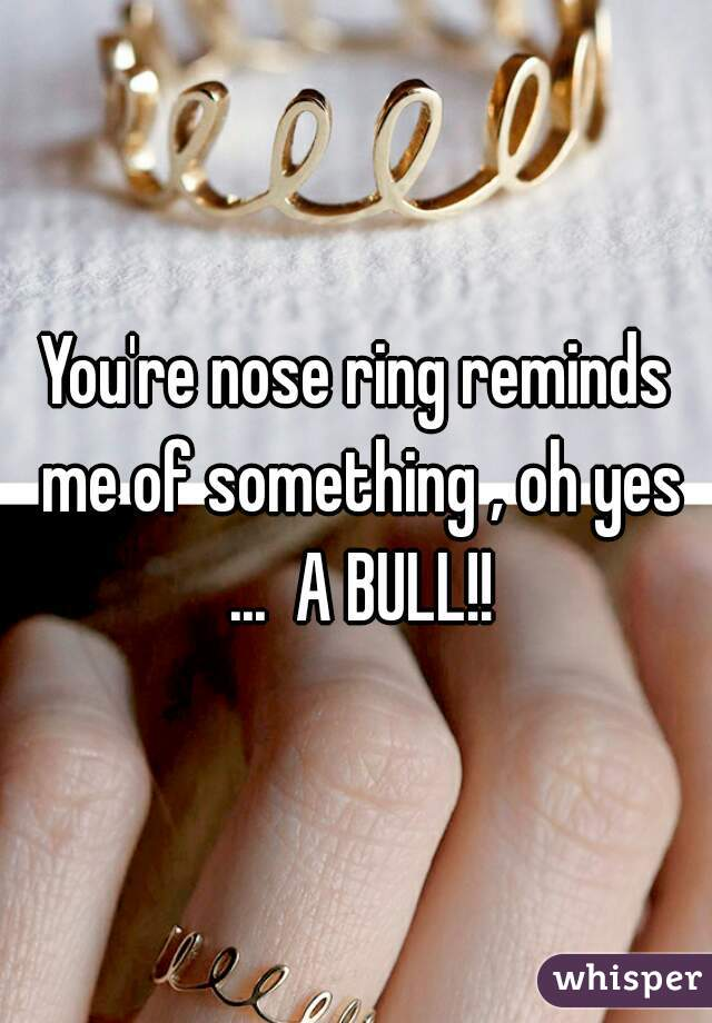 You're nose ring reminds me of something , oh yes ...  A BULL!!