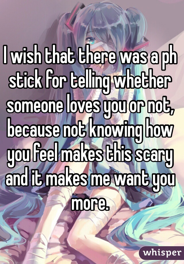 I wish that there was a ph stick for telling whether someone loves you or not, because not knowing how you feel makes this scary and it makes me want you more.