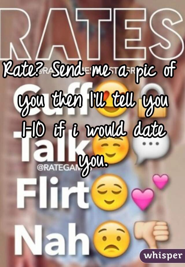 rate send me a pic of you then i ll tell you 1 10 if i