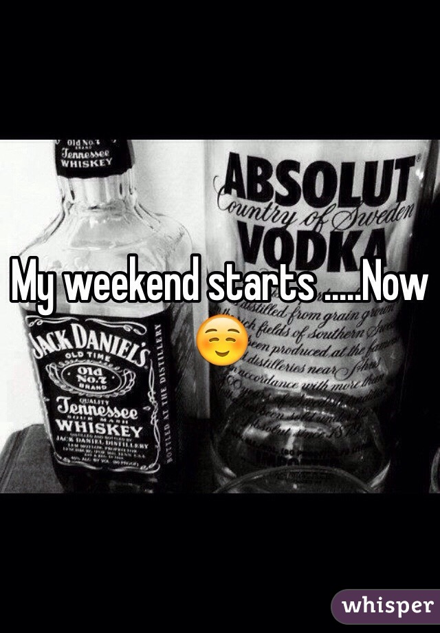 My weekend starts now