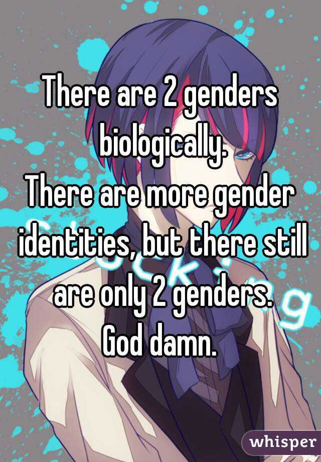 there are 2 genders biologically there are more gender identities