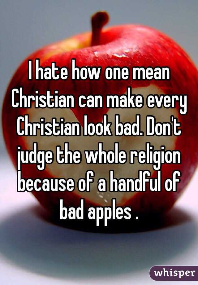 I hate how one mean Christian can make every Christian look bad. Don't judge the whole religion because of a handful of bad apples .
