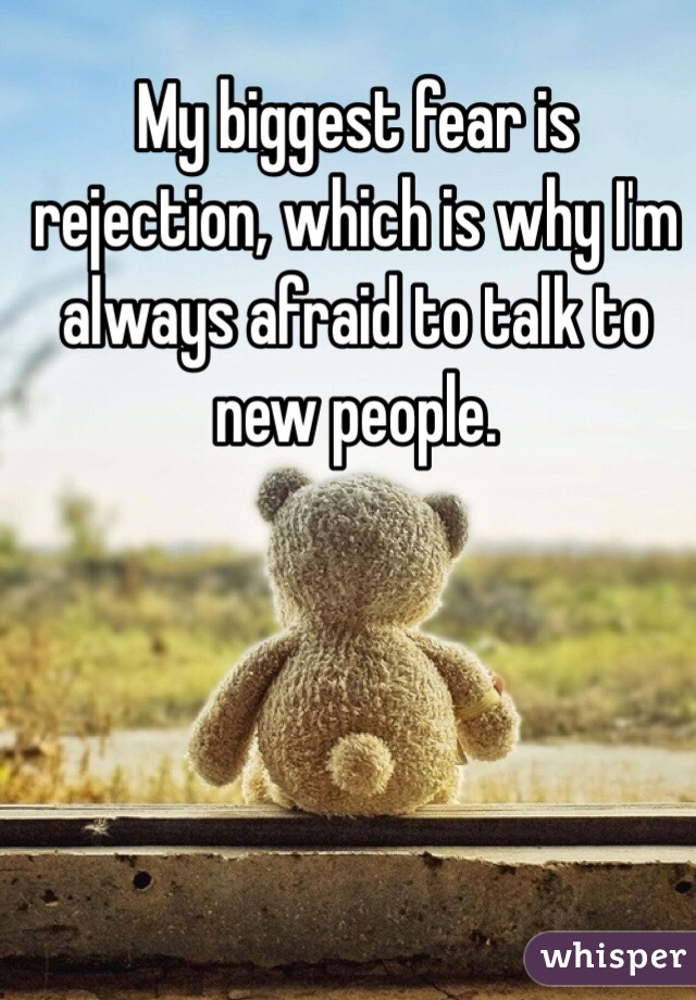 My biggest fear is rejection, which is why I'm always afraid to talk to new people.