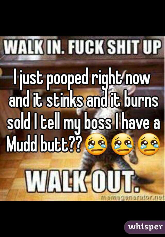 I just pooped right now and it stinks and it burns sold I tell my boss I have a Mudd butt??😢😢😢