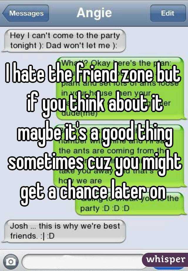 I hate the friend zone but if you think about it maybe it's a good thing sometimes cuz you might get a chance later on