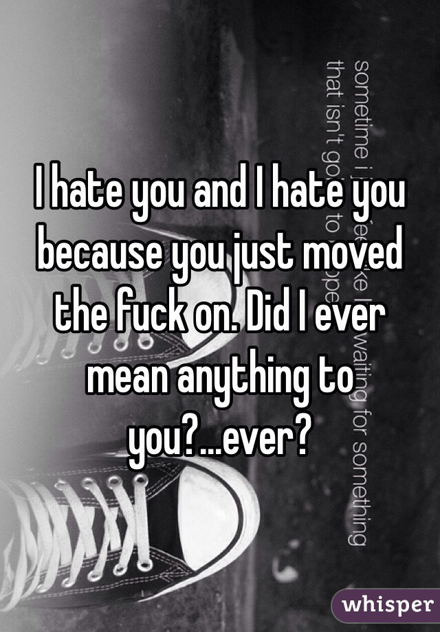 I hate you and I hate you because you just moved the fuck on. Did I ever mean anything to you?...ever?