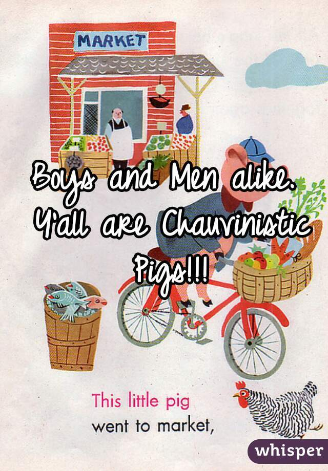 Boys and Men alike. Y'all are Chauvinistic Pigs!!!